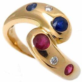 Tasaki 18K Yellow Gold with Ruby, Sapphire & Diamond Ring Size 5