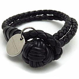 Bottega Veneta 925 Sterling Silver & Leather Grosgrain Bracelet