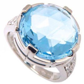 Bulgari 18K White Gold with Blue Topaz & Diamond Parentesi Cocktail Ring Size 6.5
