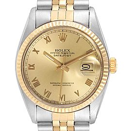 Rolex Datejust 36 Steel Yellow Gold Vintage Mens Watch 16013 Box Papers