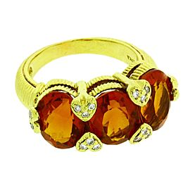 Judith Ripka 18K Yellow Gold with Diamond and Citrine Ring Size 5