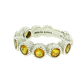 Judith Ripka 925 Sterling Silver with Yellow Cubic Zirconia Band Ring Size 6
