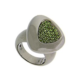 Roberto Coin Capri Plus 925 Sterling Silver Ruthenium Plated with Green Quartz Ring Size 6.5