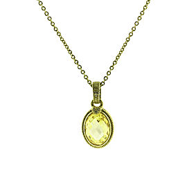 Judith Ripka 14K Yellow Gold with 0.04ctw Diamond and Quartz Necklace