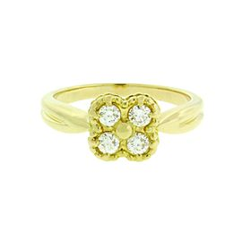 Van Cleef & Arpels Alhambra 18K Yellow Gold & 0.15ctw. Diamond Ring Size 6