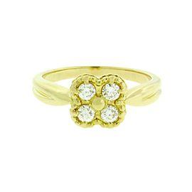 Van Cleef & Arpels Alhambra 18K Yellow Gold & 0.15ctw. Diamond Ring Size 6