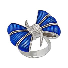 Stephen Webster 925 Sterling Silver with 0.13ctw. Diamond & Blue Enamel Bow Forget Me Knot Ring Size 7