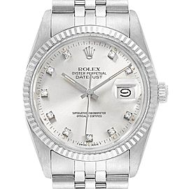 Rolex Datejust Vintage Steel White Gold Diamond Mens Watch 16014