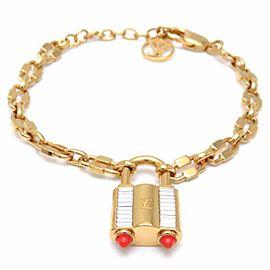 Louis Vuitton Lock Me Gold Tone Rhinestone Bracelet