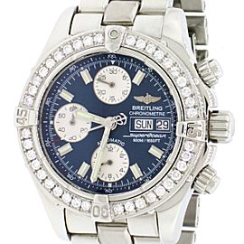 Breitling Chrono SuperOcean Day-Date 42MM Blue Dial Mens A13340 w/Diamond Bezel