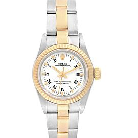 Rolex Oyster Perpetual Steel Yellow Gold Fluted Bezel Ladies Watch 67193