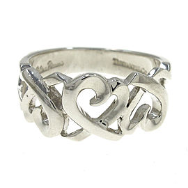 Tiffany & Co. Paloma Picasso 925 Sterling Silver Loving Heart Band Ring Size 6