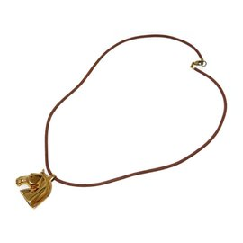 Hermes Gold Tone Hardware Horse Pendant Necklace