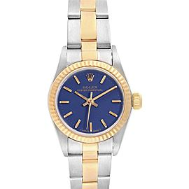 Rolex Oyster Perpetual Steel Yellow Gold Blue Dial Ladies Watch 67193