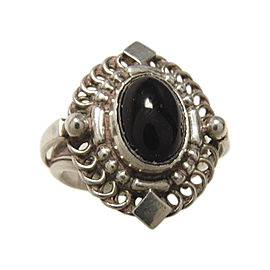 Georg Jensen 925 Sterling Silver Onyx Ring Size 6.5
