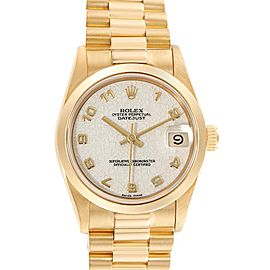 Rolex President Datejust Midsize Yellow Gold Jubilee Dial Watch 68278