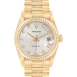 Rolex President Datejust 31 Midsize Yellow Gold Diamond Ladies Watch 68278