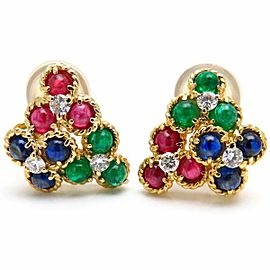 Christian Dior 18K Yellow Gold with Ruby, Sapphire, Emerald and Diamond Earrings