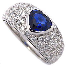 Bulgari 18K White Gold 0.53ct Sapphire & Diamond Heart Ring Size 6.75