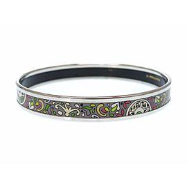 Hermes Silver Tone Enamel Cloisonne Bangle Bracelet