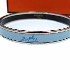 Hermes Silver Tone Enamel Turquoise Bracelet