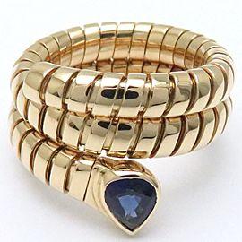 Bulgari Tubogas 18K Yellow Gold with Sapphire Snake Ring Size 5