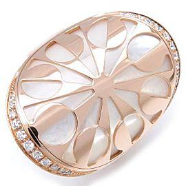 Bulgari 18K Rose Gold Mother of Pearl & Diamond Intarsio Ring Size 11.5