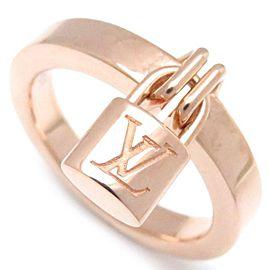 Louis Vuitton Bague 18K Rose Gold Lock Ring Size 6.75