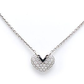 Louis Vuitton 18K White Gold Diamond V Heart Necklace