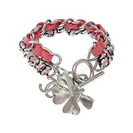 Chanel Silver Tone Suede Tweed Bracelet