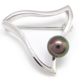 Mikimoto 18K White Gold Cultured Black Pearl Brooch