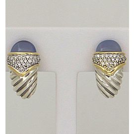 David Yurman 925 Sterling Silver 18K Yellow Gold Chalcedony Earrings