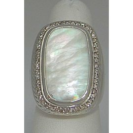 David Yurman 925 Sterling Silver Albion Mother of Pearl 1.00ctw Diamond Ring Size 6.0