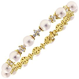 Tiffany & Co. 18K Yellow Gold Cultured Ayoka Pearl Diamond Bracelet