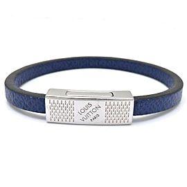Louis Vuitton Taiga Leather Silver Tone Bracelet