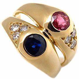 Chaumet 18K Yellow Gold Ruby Sapphire & Diamond Ring Size 3.5