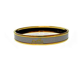 Hermes Gold Tone Enamel Bangle Bracelet