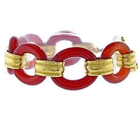 Elizabeth Locke 19K Yellow Gold Carnelian Bracelet