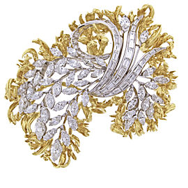 Van Cleef & Arpels Platinum 18K Yellow Gold Diamond Brooch