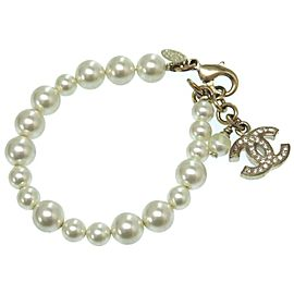 Chanel Gold Tone Simulated Glass Pearl Rhinestone CC Bracelet