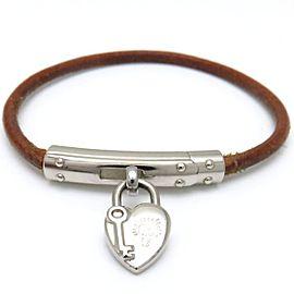 Hermes Silver Tone Heart Lock Bracelet