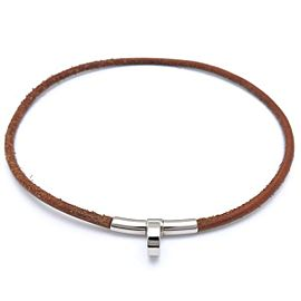 Hermes Silver Tone Leather Double Kelly Necklace / Bracelet
