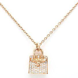 Hermes 18K Rose Gold 0.22ctw Diamond Birkin Bag Necklace