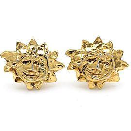 Hermes Gold Tone Sun Earrings