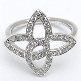 Louis Vuitton Bague Ardentes Fleur 18K White Gold Diamond Ring Size 4.75