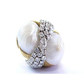 David Webb 18K Yellow Gold Cultured Pearl 2.25CTW Diamond Yellow Gold Ring Size 6