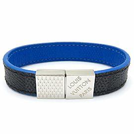 Louis Vuitton Damier Infini Leather Canvas Silver Tone Bracelet