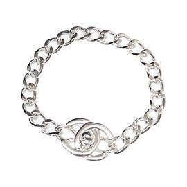 Chanel Silver Tone Turn Lock Bracelet