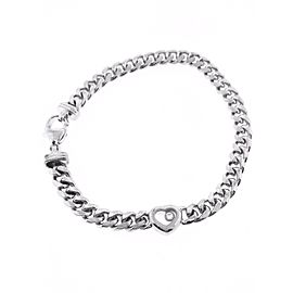 Chopard Happy Diamond 18K White Gold Heart Curb Link Bracelet