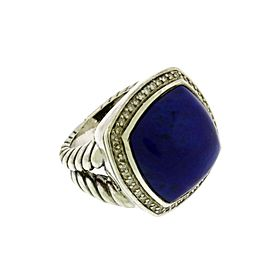 David Yurman Sterling Silver Diamond, Lapis, Lapis Lazuli Ring Size 6